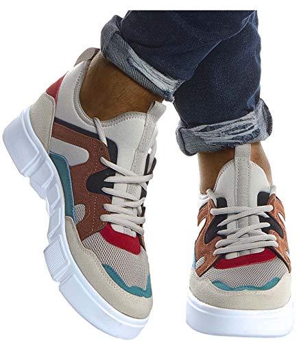 Leif Nelson Herren Schuhe für Freizeit Sport Freizeitschuhe Männer weiße Sneaker Sommer Coole Sommerschuhe Sportschuhe Weiße Schuhe für Jungen Winterschuhe Halbschuhe LN203;43, EIS-Braun