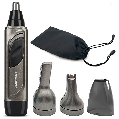 ZOOMMATE 3 in 1 Nose Ear Hair Trimmer Clippers Waterproof With LED Light, Wet/Dry Use, Battery Operated, Best Gift for Boyfriend,Husband