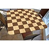 Checkered Polyester Fitted Tablecloth,Empty Checkerboard Wooden Seem Mosaic Texture Image Chess Game Hobby Theme Square Elastic Edge Fitted Table Cover,Fits Square Tables 36x36 Brown Light Brown