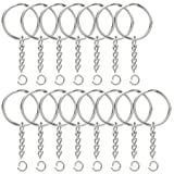 100PCS Split Key Ring with Chain, Lystaii Nickel Plated Split Key Ring with Chain Silver Color Metal Split Keychain Ring Parts With 1inch /25mm Open Jump Ring and Connector - Make Your Own Key Ring