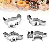 Olywee - Juego de cortadores de galletas con forma de dinosaurio para hornear 4 piezas de acero inoxidable