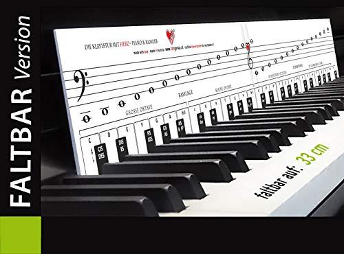 """KLAVIERSPIELEN lernen mit Freude und Spass - FALTBAR """"Klaviatur mit Herz"""" Tastenschablone/Klavierschule: Musiknoten, Tastenorientierung - Lernhilfe für Klavier & Piano"""