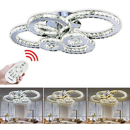 VINGO 96W LED Kristall Deckenleuchte Deckenlampe Modern Kronleuchter Pendelleuchte Hängeleuchte Energie Sparen einstellbar für Wohnzimmer Küchen Schlafzimmer mit Fernbedienung