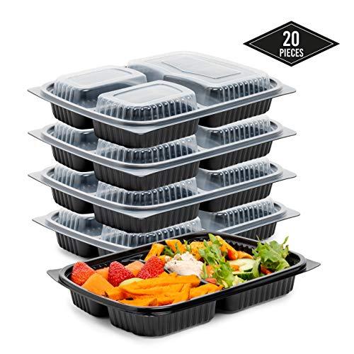 20 Pack 3-Scomparti Meal Prep Contenitori, Riutilizzabile e Impilabile - A Prova di Perdite e 100% BPA Gratis - Contenitori Alimenti con Coperchio - Lavastoviglie Congelatore & Sicuro per Microonde.