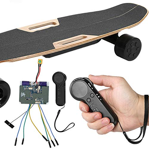 Electric Skateboard ESC Kit, Electric Four Wheels Skateboard Belt Motor Dual Drive Controller Remote Control Set
