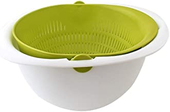 Reverse Mixing Bowl - Multi function Mixing Bowl with Strainer Colander (Green) Made in Korea