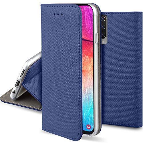 Moozy Funda para Samsung A50, Azul Oscura - Flip Cover Smart Magnética con Soporte y Cartera para Tarjetas