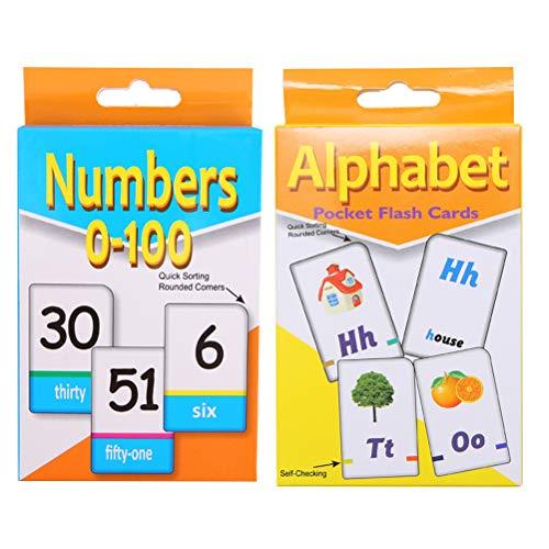 YeahiBaby Lernkarten mit Alphabet- und Zahlen-Karte, für Kleinkinder, Kinder, frühes Lernen, 2 Sets
