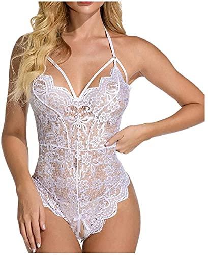 Medias de rejilla Ropa interior de mujer Encaje Negro Sin ropa interior SeeThroughPorn Pijamas Sexy-White_XXL