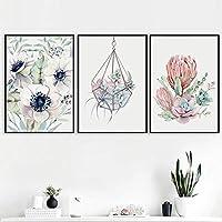 壁の芸術北欧のポスターとプリントサボテンの花のキャンバスの絵画リビングルームの風景の壁の写真寝室の装飾40x60cmx3フレームなし