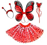 Enchantly Fairy Costume - Fairy Wings for Girls - Butterfly Costume for Girls - Red Monarch Wings, Tutu, Wand and Antennae
