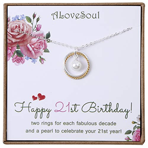 ALoveSoul 21st Birthday Gifts for Her - Sterling Silver Two Interlocking Infinity Circles Necklace 21 Year Old Necklace Gift for Women, Daughter or Best Friend
