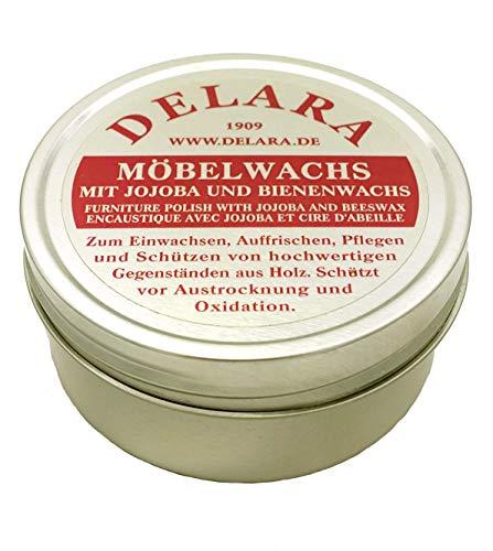 DELARA Cera per mobili di alta qualità con jojoba e cera d'api, protegge da disidratazione e ossidazione, incolore – 150 ml – Made in Germany