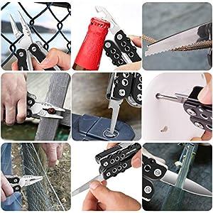 Alicate Multiuso Morpilot Multi-alicate 25 en 1, Destornilladores 11 en 1, Alicate multifuncional de Acero Inoxidable, anti-cáida para actividades exteriores con Bolsa de Nylon