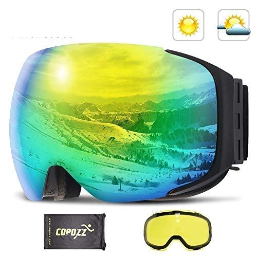 Skibrille Magnetic Skibrille New COPOZZ Marke Doppelte Schichten UV400 Anti-Nebel Big Ski-Maske Brille Skifahren Männer Frauen Schnee Snowboardbrillen (Farbe : Grün, Size : 18 * 9.5cm)