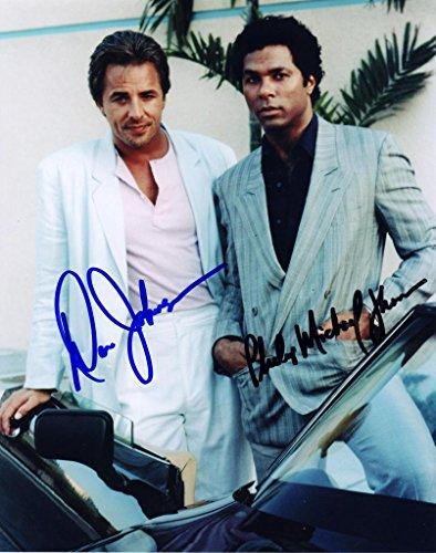 Miami Vice - Don Johnson & Philip Michael Thomas Signiert Autogramme 25cm x 20cm Foto