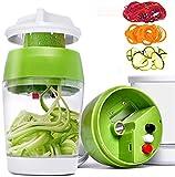 Cortador de verduras y rallador de mano espiralizador cortador de verduras con contenedor para zanahoria, pepino, calabacín, cebolla espaguetis