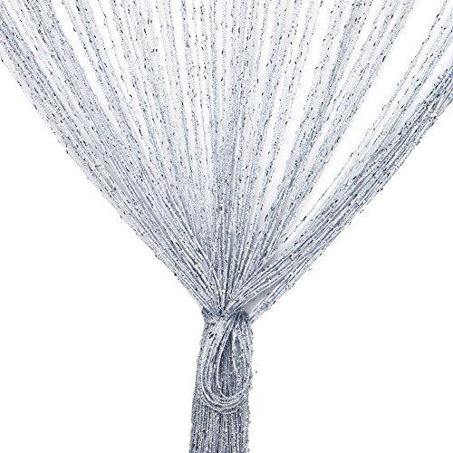 Fadenvorhang, Fadenvorhang Glitzer weiss 100 x 200 cm Wandvorhang Schaufensterdekoration, Dekorative Gardine Raumteiler Fliegenschutz für Hochzeit, Café, Restaurant (Grau)