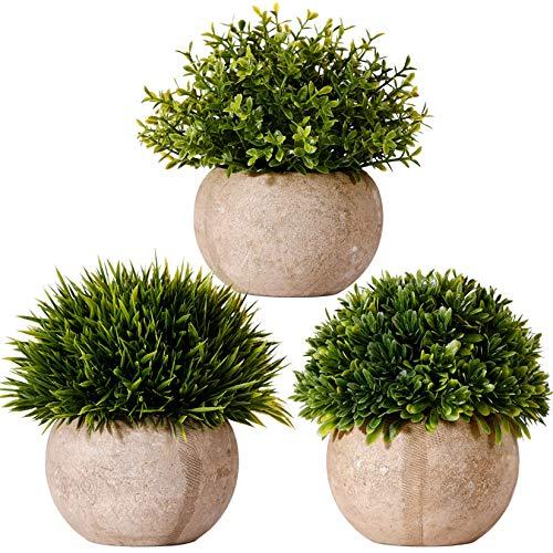 FagusHome Plantas Artificiales en Maceta 3 Piezas Mini Arbustos de Hierba Verde Plantas Falso en Maceta Plástico para Decoración (A)