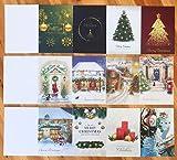 Tarjeta de Navidad, con Purpurina de Tarjeta felicitacion tarjeta regalo, Conjunto de 24 Plegable Tarjetas + 24 Sobres papel + 24 Pegatinas Tarjetas de DIY notas felicitación de Navideñas postales