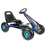 """bopster Coche de pedales """"Go-Kart"""" con ruedas hinchables para niños Azul/Negro"""
