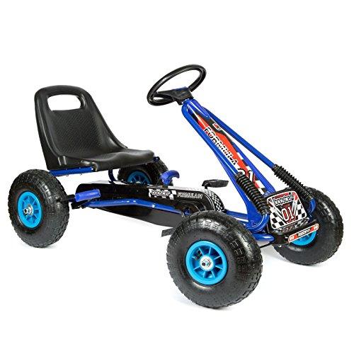 Bopster® Go-Kart a Pedali con Ruote gonfiabili per Bambini - Blu e Nero