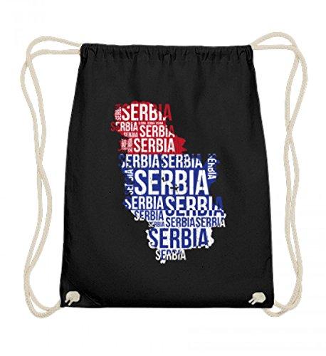 SwayShirt Hochwertige Baumwoll Gymsac - Serbien Srbija Nationalmannschaft Fussball Soccer Flagge Serbisches Trikot Geschenk