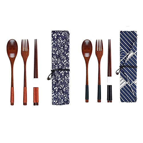 QWDLID 2 Set Japanese Natural Wooden Flatware Cutlery Set, Tied Line Lunch Utensils with Case, Reusable Tableware 4-pieces Set (1 Spoon, 1 pair of Chopsticks, 1 Fork, 1 Tableware Bag), New Gift