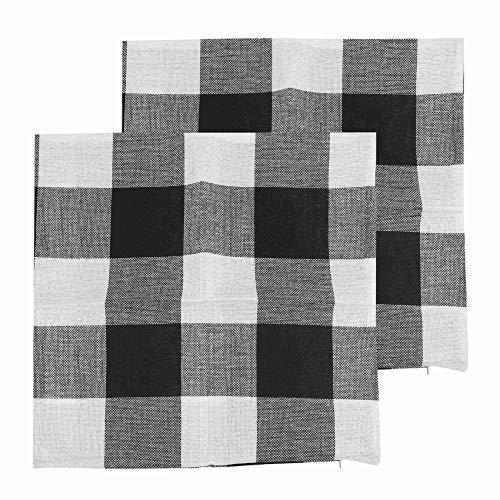 SODIAL - Juego de 2 Fundas de cojín cuadradas de algodón y Lino, Color Blanco y Negro