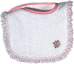 Raindrops Girl Appliqued Lace Bib, White/Pink