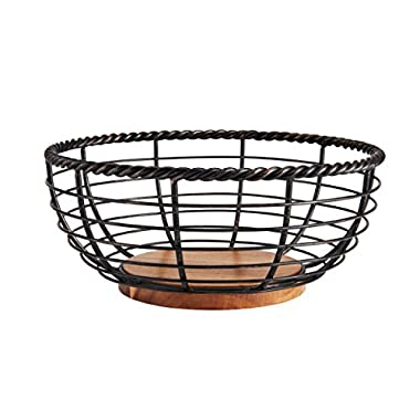 Gourmet Basics by Mikasa 5176766 Rope Centerpiece Fruit Storage Basket, 11-Inch, Antique Black