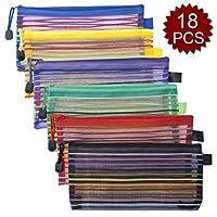 Officeship 18 PCS 6色ジップメッシュポーチA6サイズ書類フォルダ小旅行鉛筆ケース子供用少年少女用品
