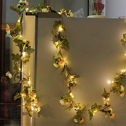 Guirnaldas luminosa 2.2 m 25 led Cadena de luces del Flores Artificial del Tela Lampara luz con Flash Iluminación Decorativa de Interior para Bodas Cumpleaños Casa Dormitorio (Champagne)