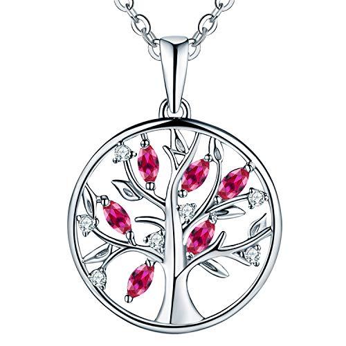 JO WISDOM Halskette Baum Des Lebens,kette anhaenger silber 925 baum des lebens Anhänger Halskette,Damen Schmuck,kette: 45-50CM (synthetischer Rubin)
