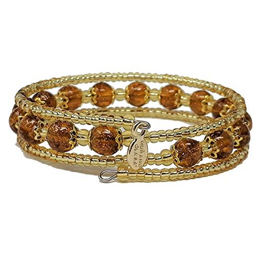 Sospiri Venezia - Pulsera para mujer con 16 perlas de cristal de 8 mm de diámetro original de Murano - Joya fabricada en Italia con certificado, Vidrio,