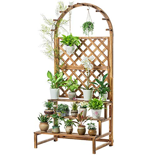 Floor Planter Stand Garden Rectangular Wooden Planter With Lattice For Vines Garden Climbing Flower Plant Pot Box for Modern Home Decor (Color : A, Size : 90x62x195cm)