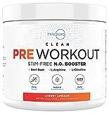 Ultra Clean Stim Free Pump Pre Workout + Nitric Oxide Booster (CherryLimeade) Beetroot, 7G Arginine Citrulline Malate, Betaine, Beta A, ACV+ Sugar/Caffeine Free Natural Non Stim Preworkout Men, Women