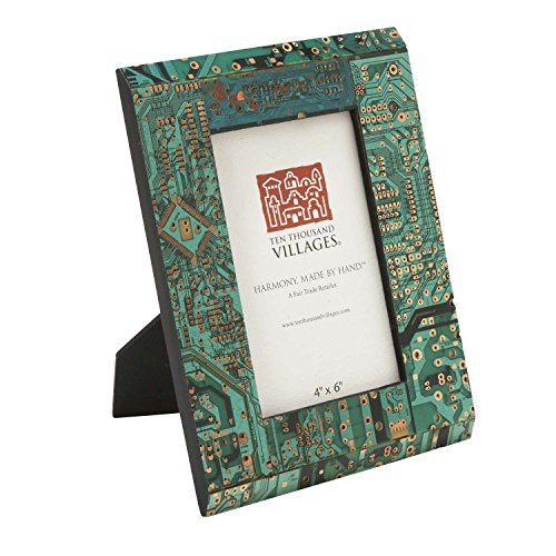 Product Image of the Ten Thousand Villages Repurposed Computer Parts Picture Frame for 4x6 Photo...