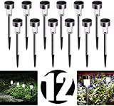 12 set luci solari da giardino a led per esterni, illuminazione ip65 lampada bianca fredda del percorso per balcone terrazza prato sentiero