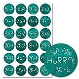 Lasse und Lucie Aufkleber für Adventskalender/Rechenaufgaben für Zahlen 1-24 / Sticker 3,5 Zentimeter Durchmesser (Rechenaufgaben Tafeldesign)