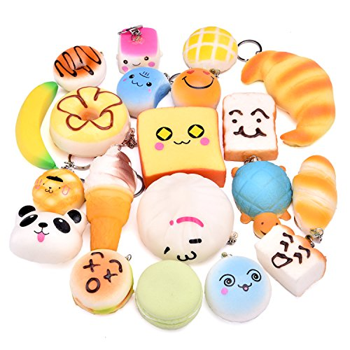 FUN LITTLE TOYS Squishy Mini Slow Rising Kawaii Jumbo Food Scented Squishies Key Chains-20 PCs Party Supplies, Kids Classroom Prizes, Party Bag Fillers