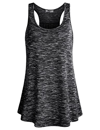Cestyle Workout Clothes for Juniors, Womens Athletic Wear Space Dyed Sleeveless Tunic Fitness Knit Racerback Tank Top Black Marble XX-Large