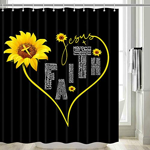 Sunflower Shower Curtain, Yellow Sunflower with Inspirational Black Shower Curtain, Black and White Shower Curtain Sunflower Bathroom Set, Funny Shower Curtain Set with Hooks, 70IN