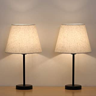 HAITRAL Bedside Table Lamps   Small Nightstand Lamps Set Of 2 With Fabric  Shade Bedside Desk