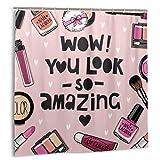 huagu Cortina de Baño con Ganchos,Impermeable,Care Pink Lipstick Cosmetics Esmalte de uñas Set Acuarela Polvo Soplo Sombra de Ojos,Cortina de Ducha de Tela 150cmx180cm