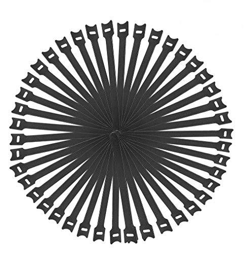 Fascette Cavi,50 Pezzi 12*200Mm Fascette Per Cavi Autoadesive Nere Riutilizzabili,Con Regolabili Hook E Loop Cinturino Fascette Cavi Di Gestione