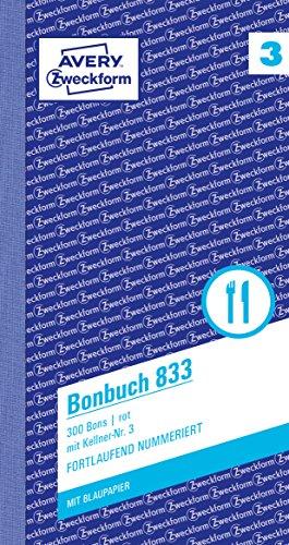 AVERY Zweckform 833 Bonbuch (Kompaktblock mit 300 Bons, Kellner-Nr. 3, 2x50 Blatt) rot/weiß