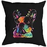 Veri FRANZÖSISCHE Bulldogge - Kissenbezug - Hunde Neon Pop Art Motiv - French Bulldog - buntes Hunde Portrait - Motiv Kissenhülle Deko 40x40cm schwarz :