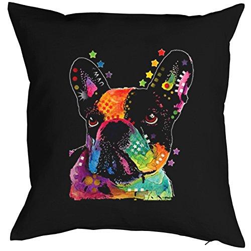 Kissenbezug für 40x40 Kissen mit buntem Hunde Motiv: French Bulldog, Französische Bulldogge - Kopfkissen - schwarz