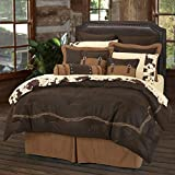 HiEnd Accents Barbwire Rustic Western Faux Suede Bedding Comforter Set, Super King, Chocolate 7 PC